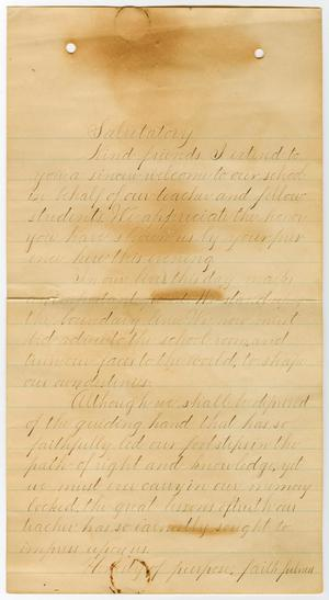 Primary view of object titled '[Salutatory Speech for the Texas Baptist University Graduation]'.