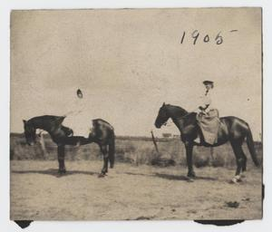 Primary view of object titled '[Photograph of Nelle Turney and her Friend Riding Horses]'.