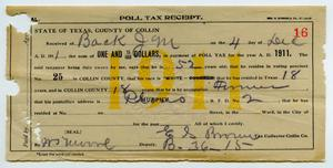 Primary view of object titled '[Poll Tax Receipt for J. M. Back, December 4, 1911]'.