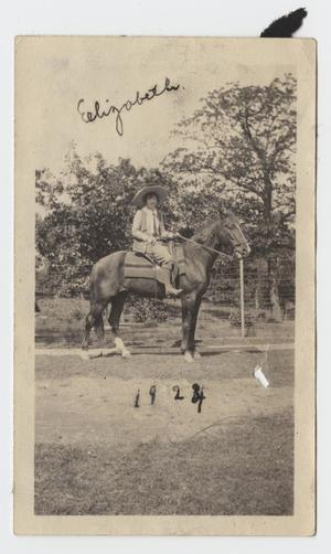 Primary view of object titled '[Photograph of a Woman on a Horse]'.