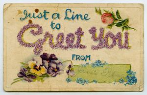 Primary view of object titled '[Postcard from Jessie to Lois Matlock, December 10, 1910]'.