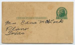 Primary view of object titled '[Postcard from Tallye Daffron Pearson to Edna Matlock, July 28, 1932]'.