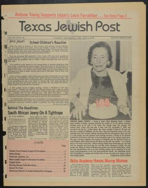 Primary view of object titled 'Texas Jewish Post (Fort Worth, Tex.), Vol. 39, No. 36, Ed. 1 Thursday, September 5, 1985'.