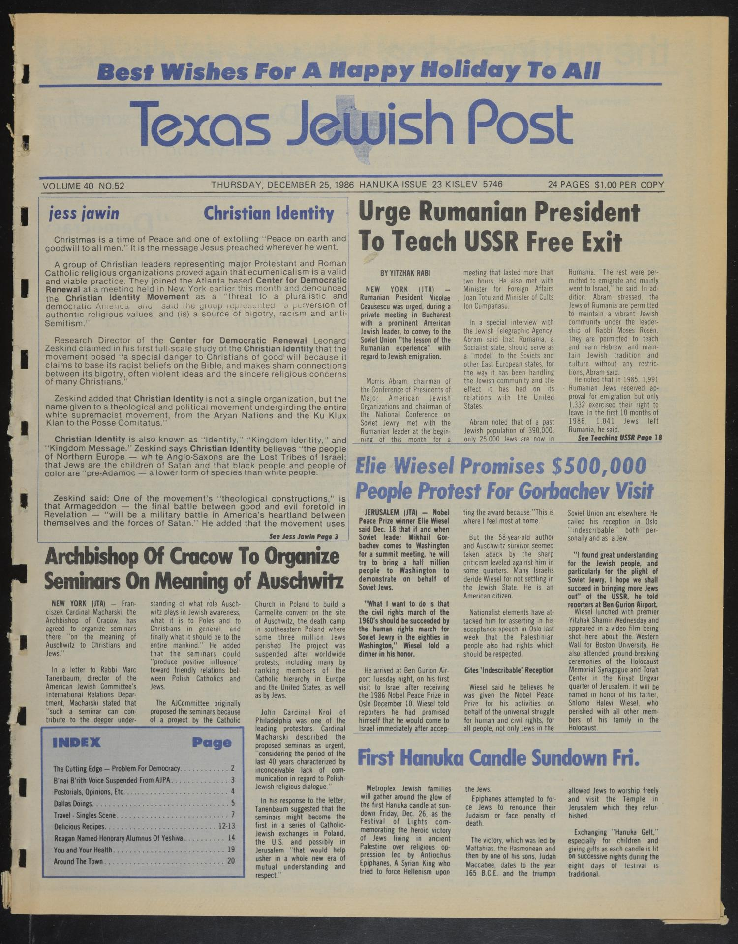 Texas Jewish Post (Fort Worth, Tex.), Vol. 40, No. 52, Ed. 1 Thursday, December 25, 1986                                                                                                      [Sequence #]: 1 of 24