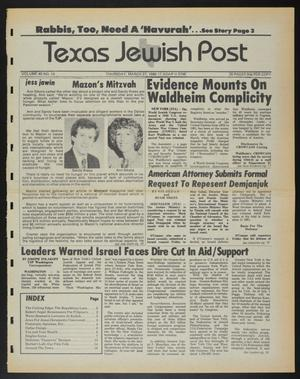 Primary view of object titled 'Texas Jewish Post (Fort Worth, Tex.), Vol. 40, No. 13, Ed. 1 Thursday, March 27, 1986'.