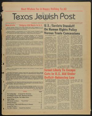 Primary view of object titled 'Texas Jewish Post (Fort Worth, Tex.), Vol. 39, No. 51, Ed. 1 Thursday, December 19, 1985'.