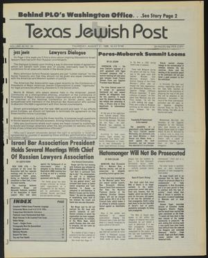 Primary view of object titled 'Texas Jewish Post (Fort Worth, Tex.), Vol. 40, No. 34, Ed. 1 Thursday, August 21, 1986'.