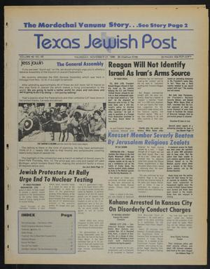Primary view of object titled 'Texas Jewish Post (Fort Worth, Tex.), Vol. 40, No. 48, Ed. 1 Thursday, November 27, 1986'.