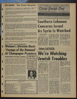 Primary view of object titled 'Texas Jewish Post (Fort Worth, Tex.), Vol. 31, No. 6, Ed. 1 Thursday, February 10, 1977'.