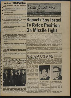 Primary view of object titled 'Texas Jewish Post (Fort Worth, Tex.), Vol. 24, No. 48, Ed. 1 Thursday, November 19, 1970'.