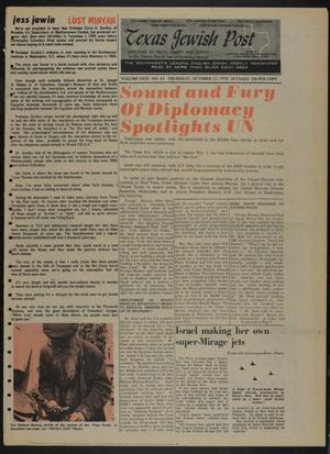Primary view of object titled 'Texas Jewish Post (Fort Worth, Tex.), Vol. 24, No. 43, Ed. 1 Thursday, October 22, 1970'.