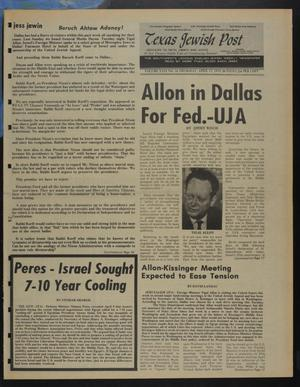 Primary view of object titled 'Texas Jewish Post (Fort Worth, Tex.), Vol. 29, No. 16, Ed. 1 Thursday, April 17, 1975'.