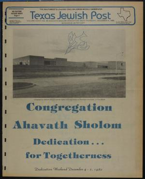 Primary view of object titled 'Texas Jewish Post (Fort Worth, Tex.), Vol. 34, No. 49, Ed. 1 Thursday, December 4, 1980'.
