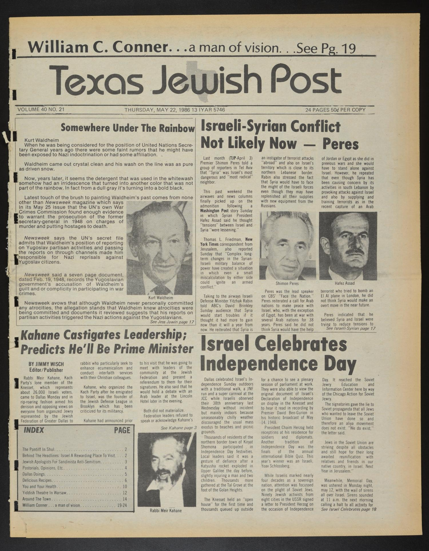 Texas Jewish Post (Fort Worth, Tex.), Vol. 40, No. 21, Ed. 1 Thursday, May 22, 1986                                                                                                      [Sequence #]: 1 of 24