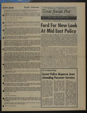Primary view of object titled 'Texas Jewish Post (Fort Worth, Tex.), Vol. 29, No. 14, Ed. 1 Thursday, April 3, 1975'.