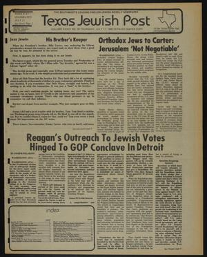 Primary view of object titled 'Texas Jewish Post (Fort Worth, Tex.), Vol. 34, No. 29, Ed. 1 Thursday, July 17, 1980'.