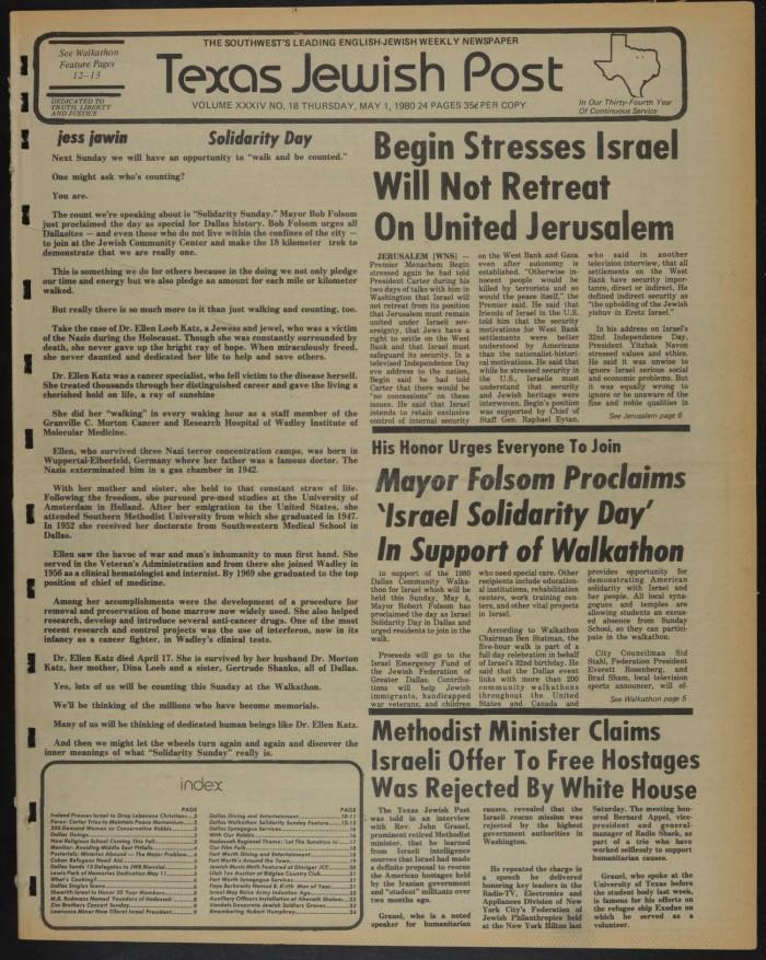 Texas Jewish Post (Fort Worth, Tex ), Vol  34, No  18, Ed  1