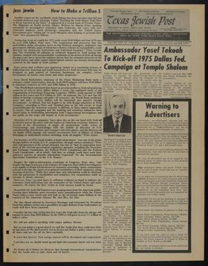 Primary view of object titled 'Texas Jewish Post (Fort Worth, Tex.), Vol. 29, No. 2, Ed. 1 Thursday, January 9, 1975'.