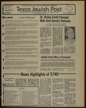 Primary view of object titled 'Texas Jewish Post (Fort Worth, Tex.), Vol. 34, No. 38, Ed. 1 Thursday, September 18, 1980'.