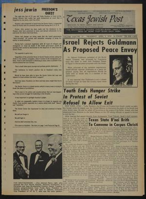 Primary view of object titled 'Texas Jewish Post (Fort Worth, Tex.), Vol. 24, No. 15, Ed. 1 Thursday, April 9, 1970'.