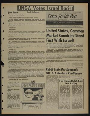 Primary view of object titled 'Texas Jewish Post (Fort Worth, Tex.), Vol. 29, No. 46, Ed. 1 Thursday, November 13, 1975'.