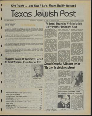 Primary view of object titled 'Texas Jewish Post (Fort Worth, Tex.), Vol. 38, No. 47, Ed. 1 Thursday, November 22, 1984'.