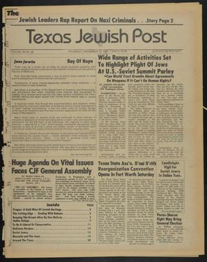 Primary view of object titled 'Texas Jewish Post (Fort Worth, Tex.), Vol. 39, No. 46, Ed. 1 Thursday, November 14, 1985'.