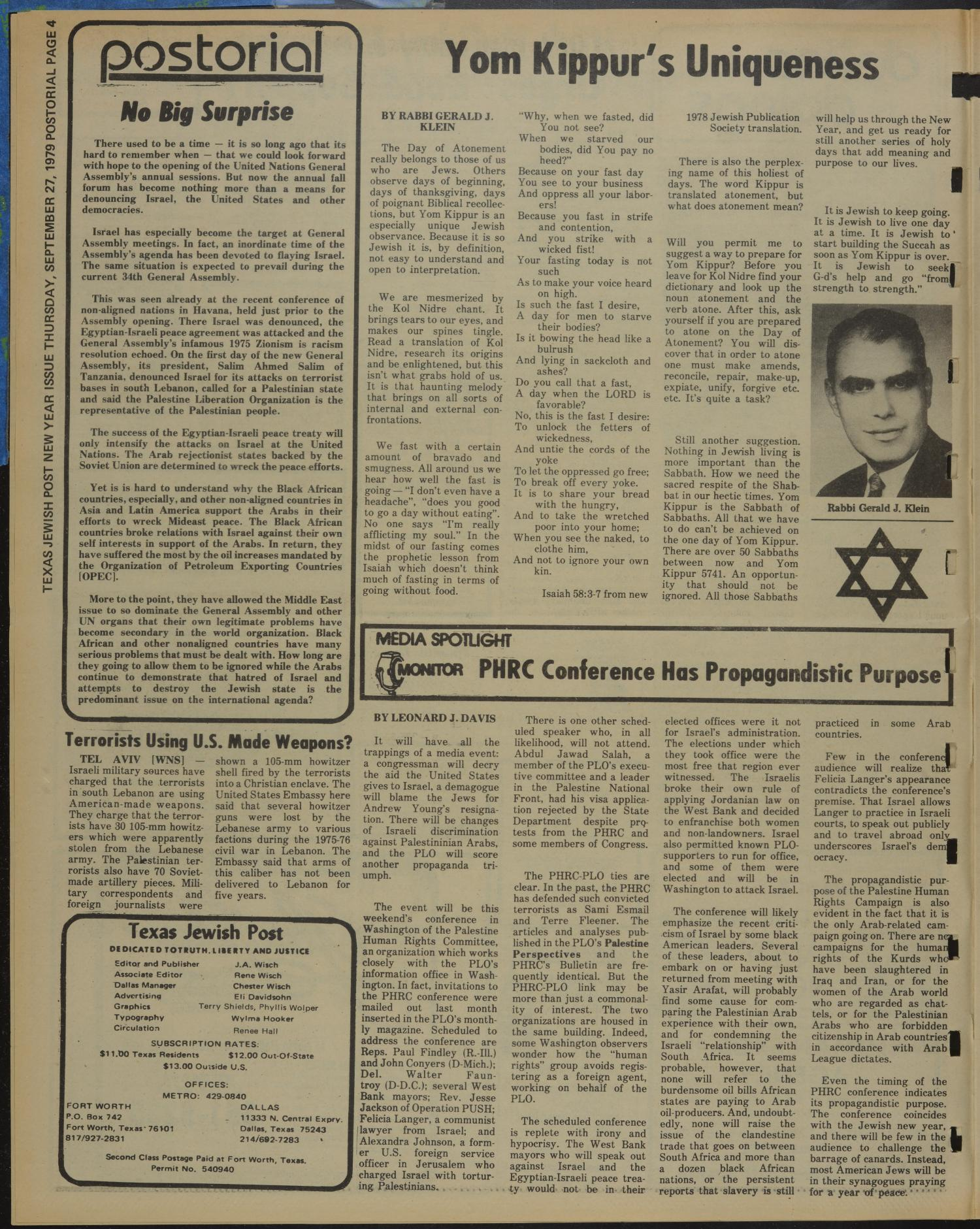 Texas Jewish Post (Fort Worth, Tex.), Vol. 33, No. 39, Ed. 1 Thursday, September 27, 1979                                                                                                      [Sequence #]: 4 of 24