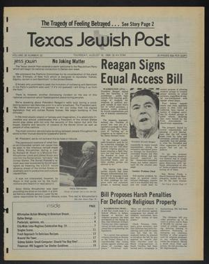 Primary view of object titled 'Texas Jewish Post (Fort Worth, Tex.), Vol. 38, No. 33, Ed. 1 Thursday, August 16, 1984'.