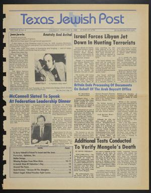 Primary view of object titled 'Texas Jewish Post (Fort Worth, Tex.), Vol. 40, No. 6, Ed. 1 Thursday, February 6, 1986'.