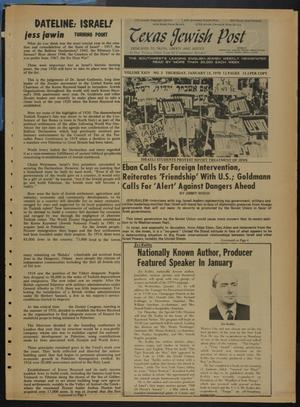 Primary view of object titled 'Texas Jewish Post (Fort Worth, Tex.), Vol. 24, No. 3, Ed. 1 Thursday, January 15, 1970'.