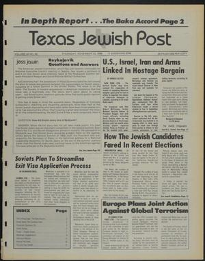 Primary view of object titled 'Texas Jewish Post (Fort Worth, Tex.), Vol. 40, No. 46, Ed. 1 Thursday, November 13, 1986'.