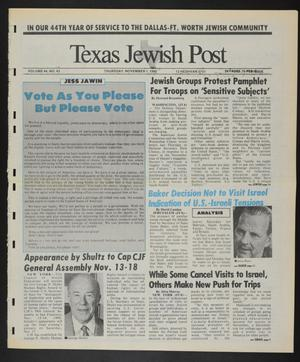 Primary view of object titled 'Texas Jewish Post (Fort Worth, Tex.), Vol. 44, No. 43, Ed. 1 Thursday, November 1, 1990'.