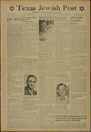 Primary view of object titled 'Texas Jewish Post (Fort Worth, Tex.), Vol. 4, No. 5, Ed. 1 Thursday, March 2, 1950'.