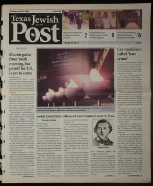 Primary view of Texas Jewish Post (Fort Worth, Tex.), Vol. 58, No. 17, Ed. 1 Thursday, April 22, 2004
