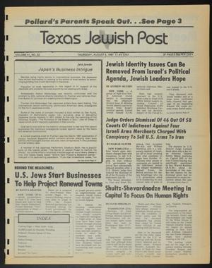 Primary view of Texas Jewish Post (Fort Worth, Tex.), Vol. 41, No. 32, Ed. 1 Thursday, August 6, 1987