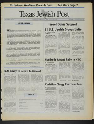 Primary view of object titled 'Texas Jewish Post (Fort Worth, Tex.), Vol. 42, No. 6, Ed. 1 Thursday, February 11, 1988'.