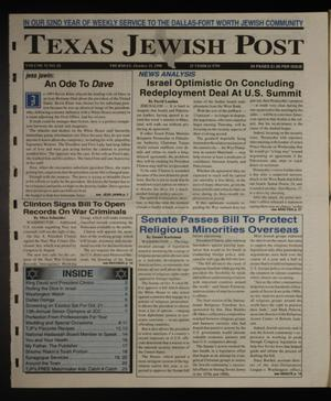 Primary view of object titled 'Texas Jewish Post (Fort Worth, Tex.), Vol. 52, No. 42, Ed. 1 Thursday, October 15, 1998'.