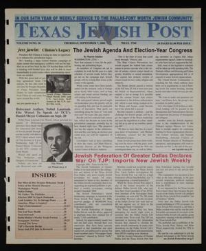 Primary view of object titled 'Texas Jewish Post (Fort Worth, Tex.), Vol. 54, No. 36, Ed. 1 Thursday, September 7, 2000'.