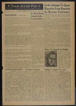 Primary view of object titled 'Texas Jewish Post (Fort Worth, Tex.), Vol. 13, No. 9, Ed. 1 Thursday, February 26, 1959'.