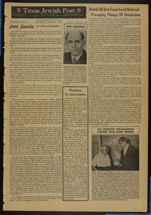 Primary view of object titled 'Texas Jewish Post (Fort Worth, Tex.), Vol. 11, No. 31, Ed. 1 Thursday, August 1, 1957'.