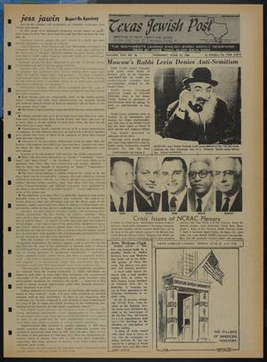 Primary view of object titled 'Texas Jewish Post (Fort Worth, Tex.), Vol. 22, No. 26, Ed. 1 Thursday, June 27, 1968'.