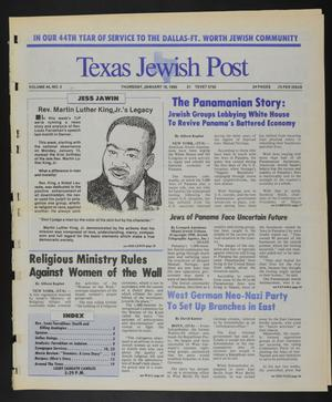 Primary view of object titled 'Texas Jewish Post (Fort Worth, Tex.), Vol. 44, No. 3, Ed. 1 Thursday, January 18, 1990'.