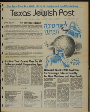Primary view of object titled 'Texas Jewish Post (Fort Worth, Tex.), Vol. 39, No. 34, Ed. 1 Thursday, August 25, 1983'.