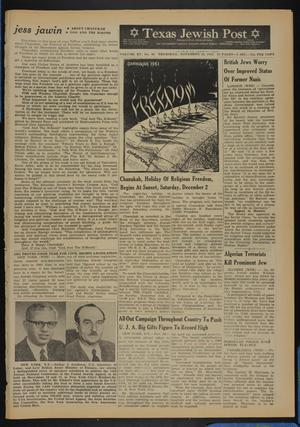 Primary view of object titled 'Texas Jewish Post (Fort Worth, Tex.), Vol. 15, No. 48, Ed. 1 Thursday, November 30, 1961'.