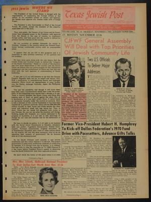 Primary view of object titled 'Texas Jewish Post (Fort Worth, Tex.), Vol. 23, No. 45, Ed. 1 Thursday, November 6, 1969'.