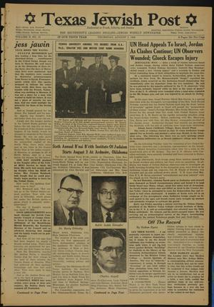 Primary view of object titled 'Texas Jewish Post (Fort Worth, Tex.), Vol. 10, No. 31, Ed. 1 Thursday, August 2, 1956'.