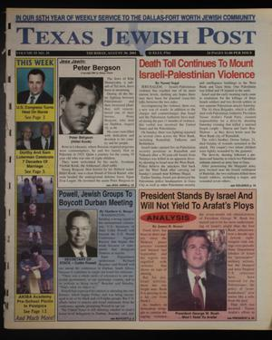 Primary view of object titled 'Texas Jewish Post (Fort Worth, Tex.), Vol. 55, No. 35, Ed. 1 Thursday, August 30, 2001'.