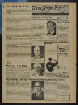 Primary view of object titled 'Texas Jewish Post (Fort Worth, Tex.), Vol. 22, No. 21, Ed. 1 Thursday, May 23, 1968'.