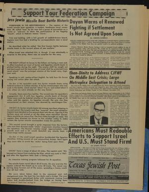 Primary view of Texas Jewish Post (Fort Worth, Tex.), Vol. 27, No. 45, Ed. 1 Thursday, November 8, 1973